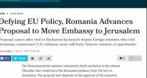 Presa din Israel: România sfidează UE și vrea să își mute ambasada la Israel
