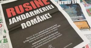 """""""Ruşine Jandarmeriei Române"""", o campanie plătită pe prima pagină în Gazeta Sporturilor"""
