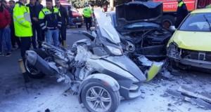 Dezastru la Constanța. Accident rutier grav, o motocicletă a luat foc (FOTO/VIDEO)