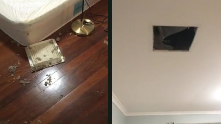 A îngheţat de spaimă, după ce i s-a prăbuşit tavanul. Terifiant ce a căzut de acolo!